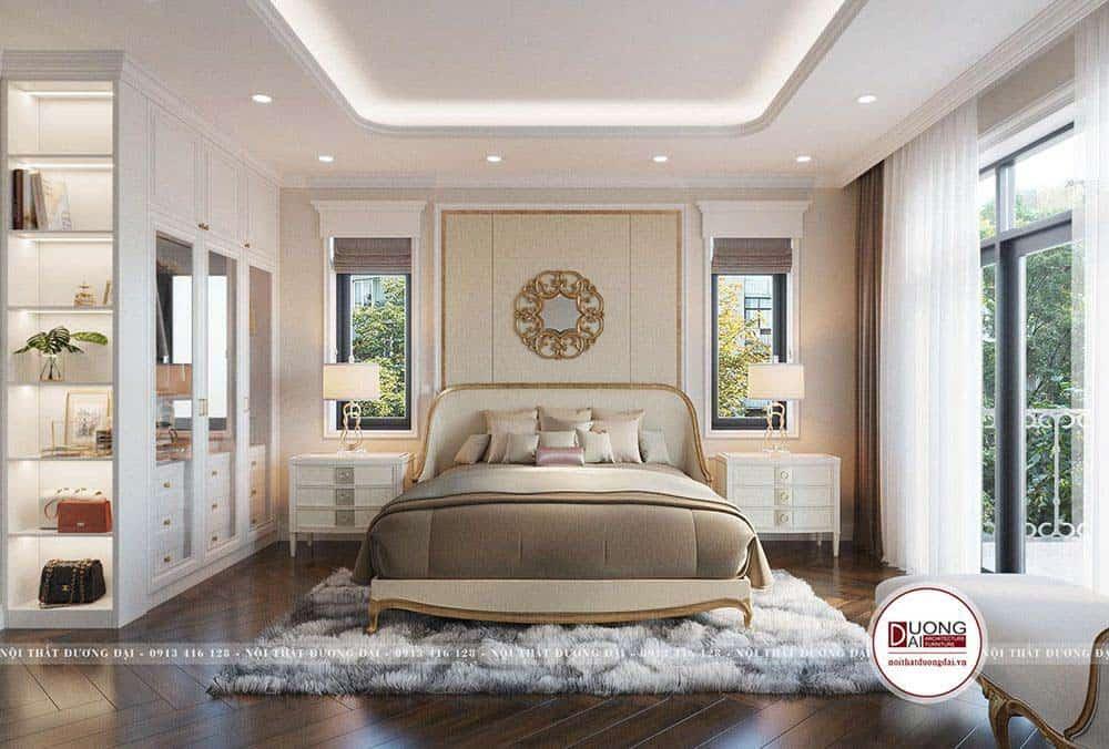Phòng ngủ tân cổ với nội thất đa dạng chất liệu hiện đại