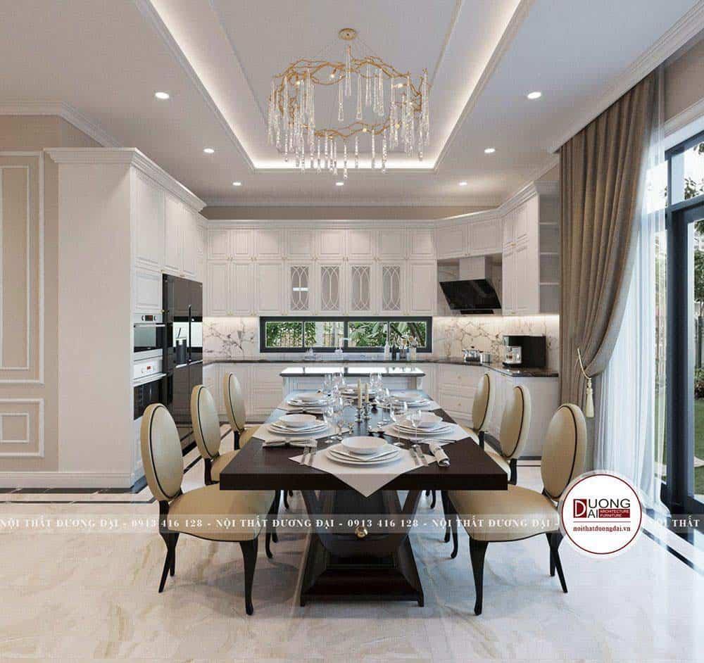 Phòng bếp ấn tượng với tủ bếp màu trắng chuẩn phong thủy