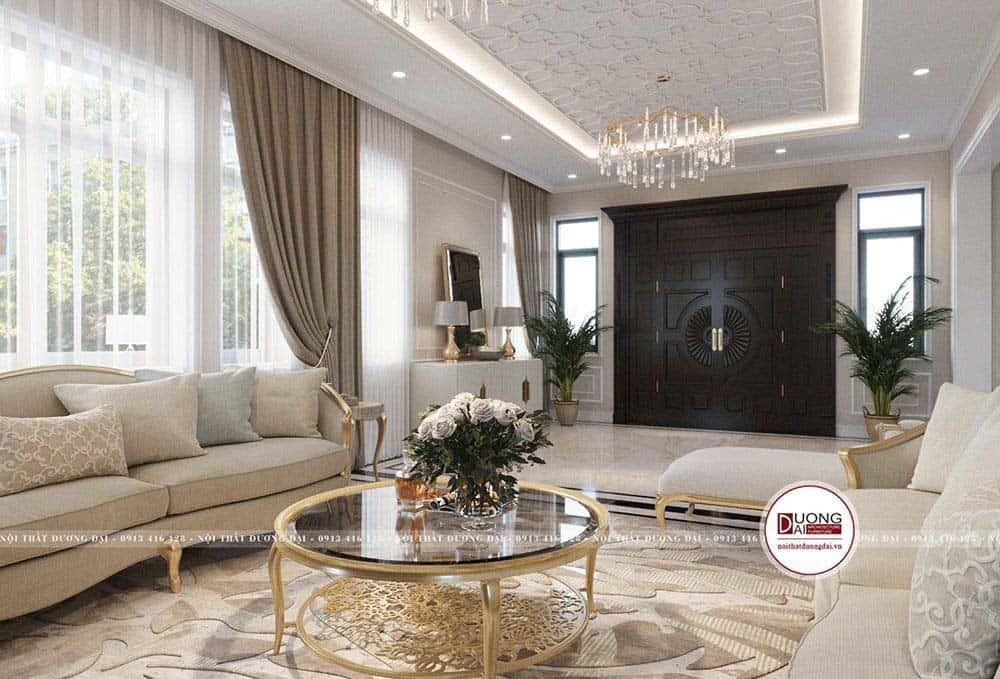 Bàn trà mặt đá khung kim loại mạ vàng đầy cao quý và tráng lệ