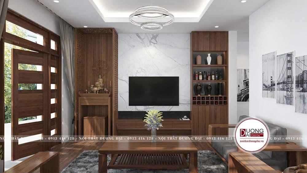Phòng khách sử dụng gỗ sồi đầy trang nhã và tinh tế