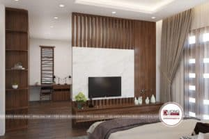 Kệ tivi làm thành vách ngăn gỗ sang trọng cho phòng ngủ