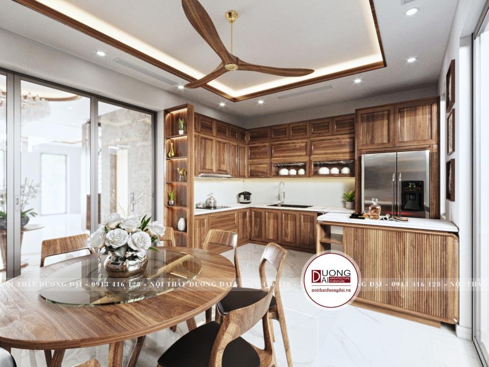 Không gian phòng bếp trang nhã và ấn tượng với bàn ăn tròn