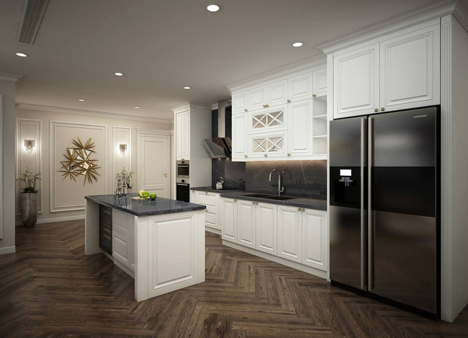 Tủ Bếp Tân Cổ Điển Đẹp Mê Ly Và Đẳng Cấp Nhất Cho Phòng Bếp