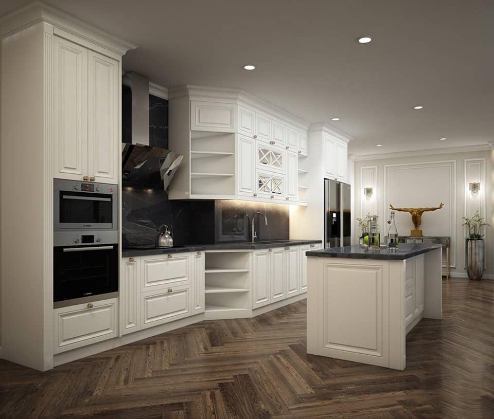 Mẫu tủ bếp sang trọng với màu trắng - đen kiểu dáng chữ i
