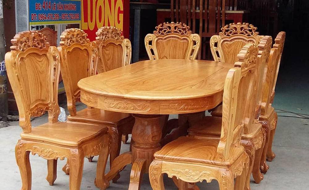 Bàn ăn gỗ gõ đỏ 8 ghế |BST 9+ mẫu bàn ăn được ưa chuộng nhất