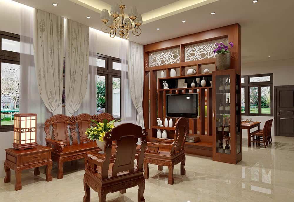 Vách ngăn gỗ kết hợp tủ rượu xa hoa cho phòng khách