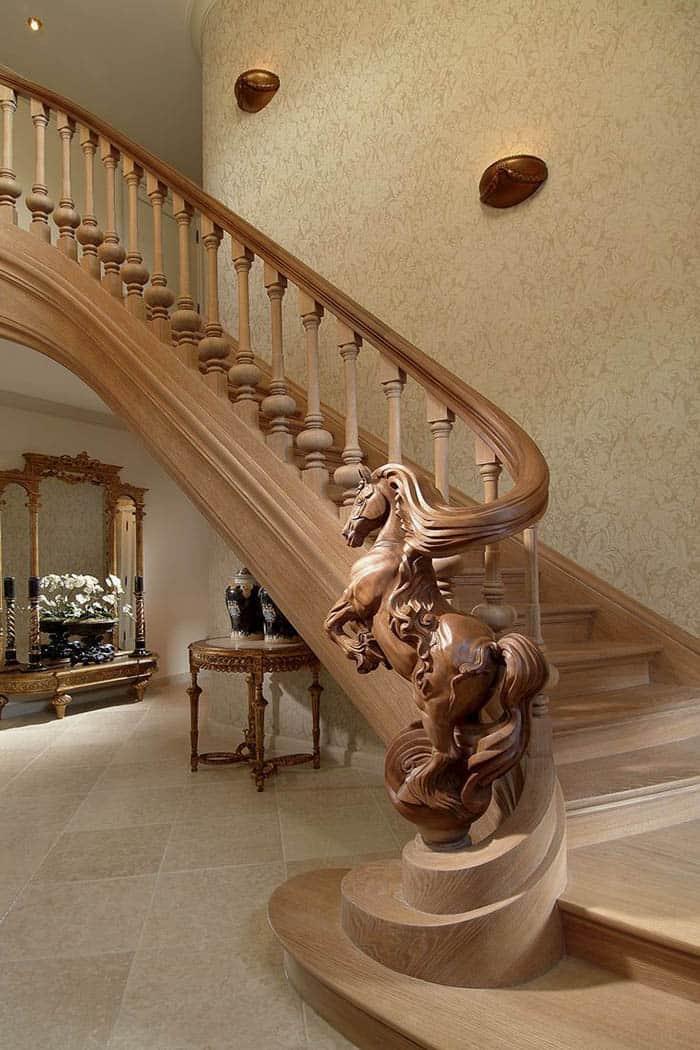 Mẫu cầu thang gỗ tân cổ điển tinh xảo và nguy nga