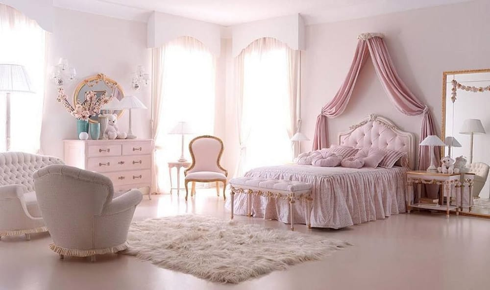 Thiết kế phòng ngủ tân cổ điển đầy tiện nghi với màu sắc hồng phấn