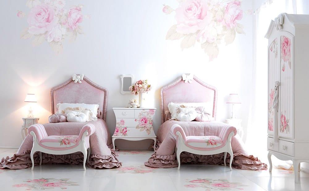 Mẫu phòng ngủ 2 giường đầy nữ tính và ngộ nghĩnh