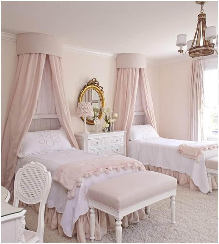 Mẫu phòng ngủ nữ tính với gam màu hồng