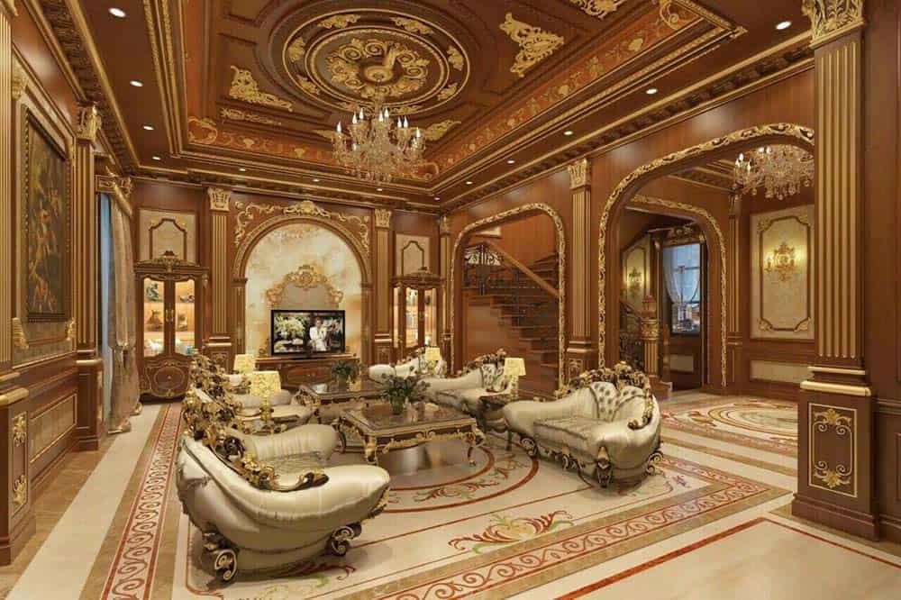 Thiết kế trần gỗ phòng khách khiến ai cũng trầm trồ