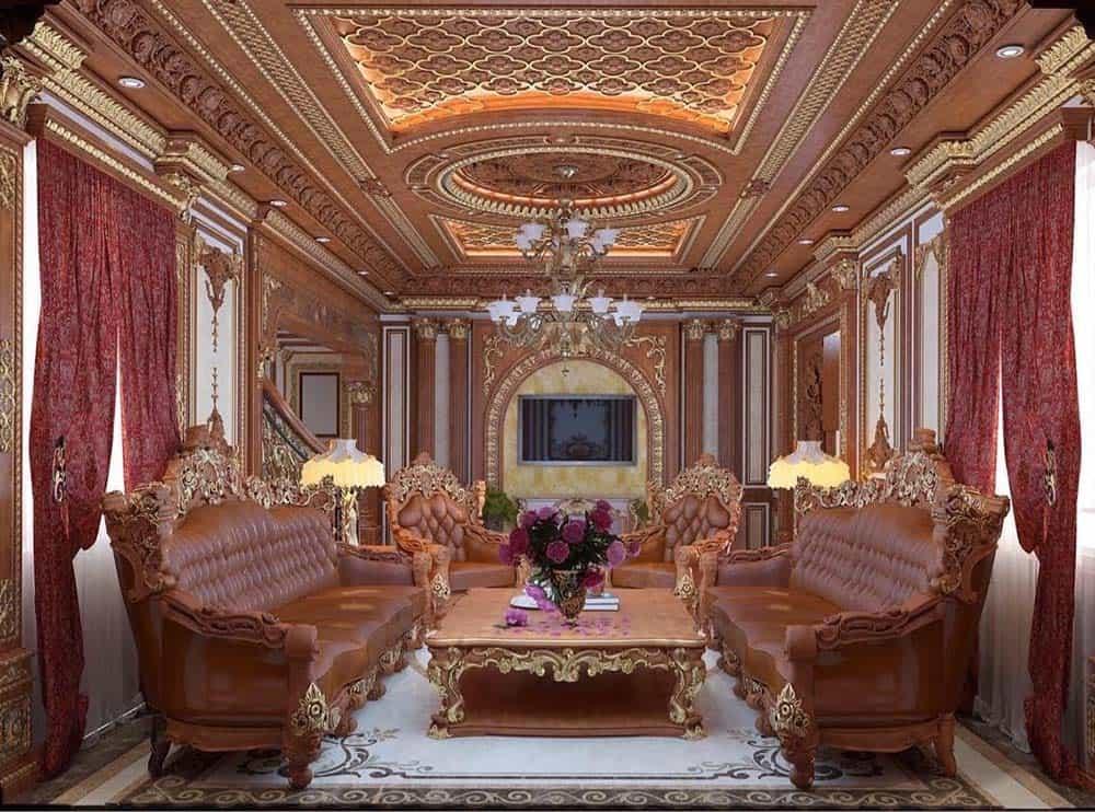 Trần gỗ tạo thành bức tranh nghệ thuật lớn