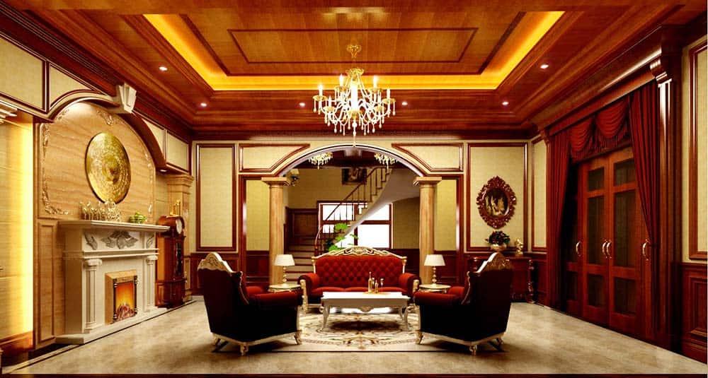 Thiết kế trần gỗ có đèn chùm cho phòng khách đẳng cấp