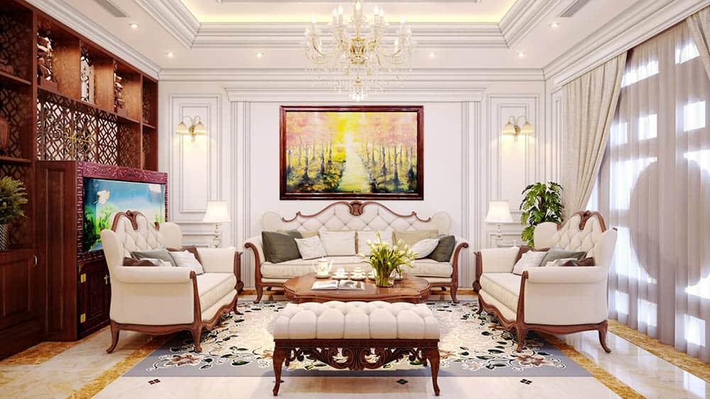 Phòng khách nhà phố sang trọng và đầy tráng lệ