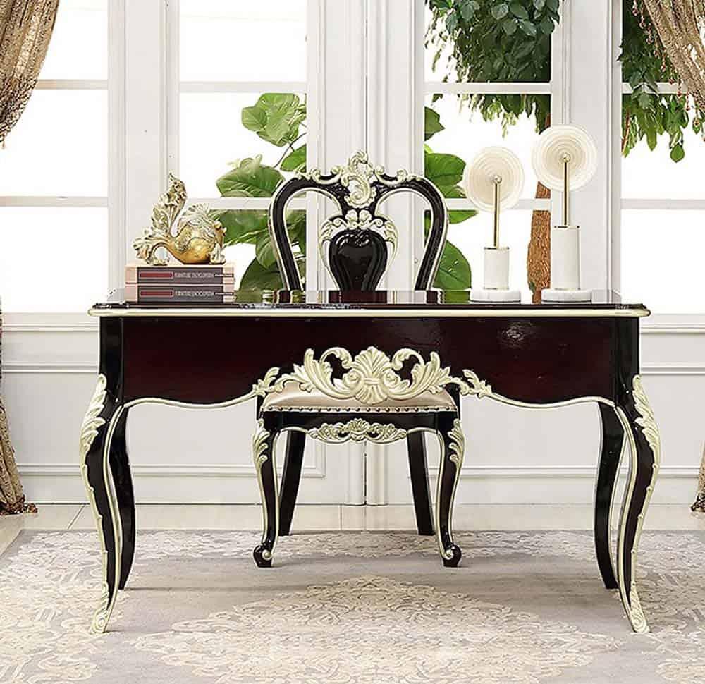 Mẫu bàn sơn màu nâu đen với thiết kế siêu quý phái