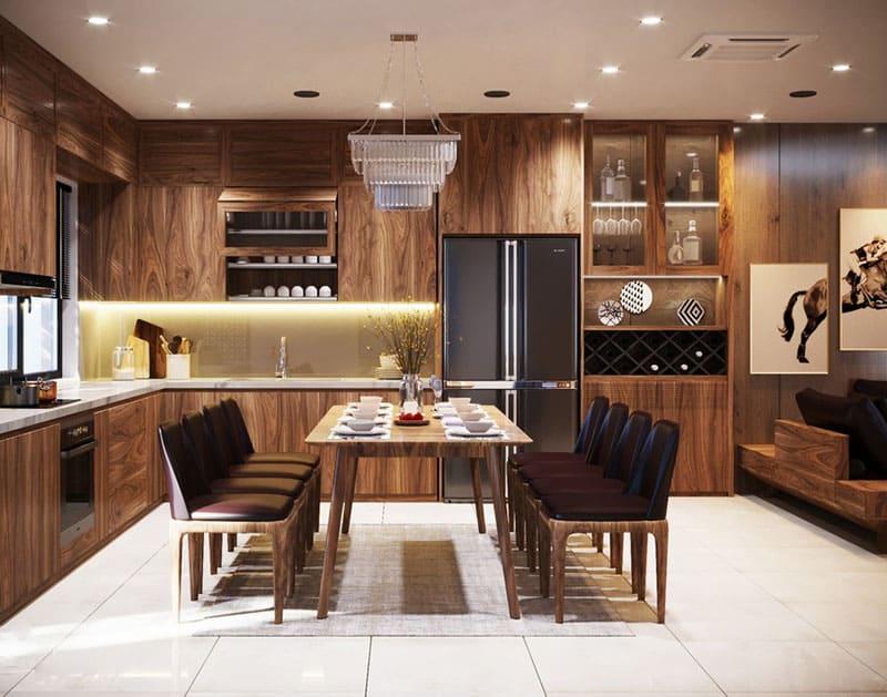 Mẫu tủ bếp chung cư làm từ gỗ óc chó siêu đẳng cấp