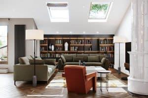 Giếng đặt ngay trên phòng khách để lấy ánh sáng tự nhiên