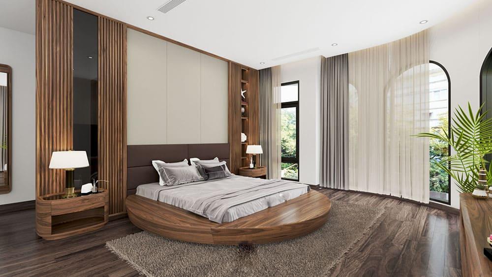 Thiết kế giường ngủ đầy cá tính từ gỗ Walnut sang trọng