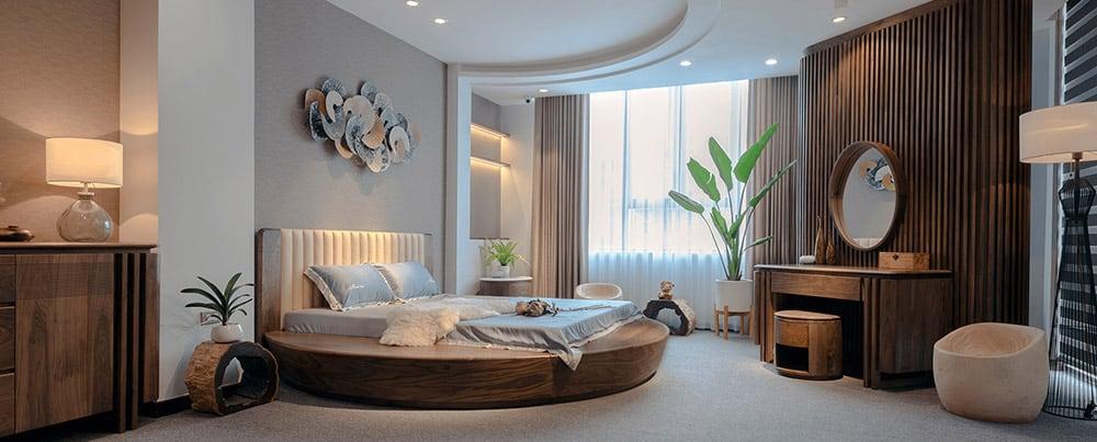 Thiết kế phòng ngủ biệt thự với chiếc giường siêu đẳng cấp