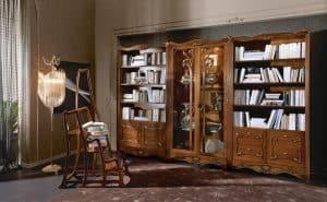 Thiết kế kệ sách gỗ điêu khắc hoa văn tân cổ điển đầy tỉ mỉ và khéo léo