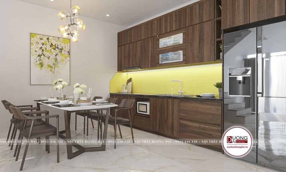 Thiết kế phòng bếp nhà vuông nhỏ gọn và hiện đại