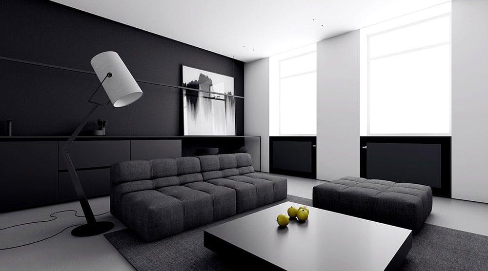 Căn phòng phối màu đen - trắng nổi bật với nội thất tinh giản
