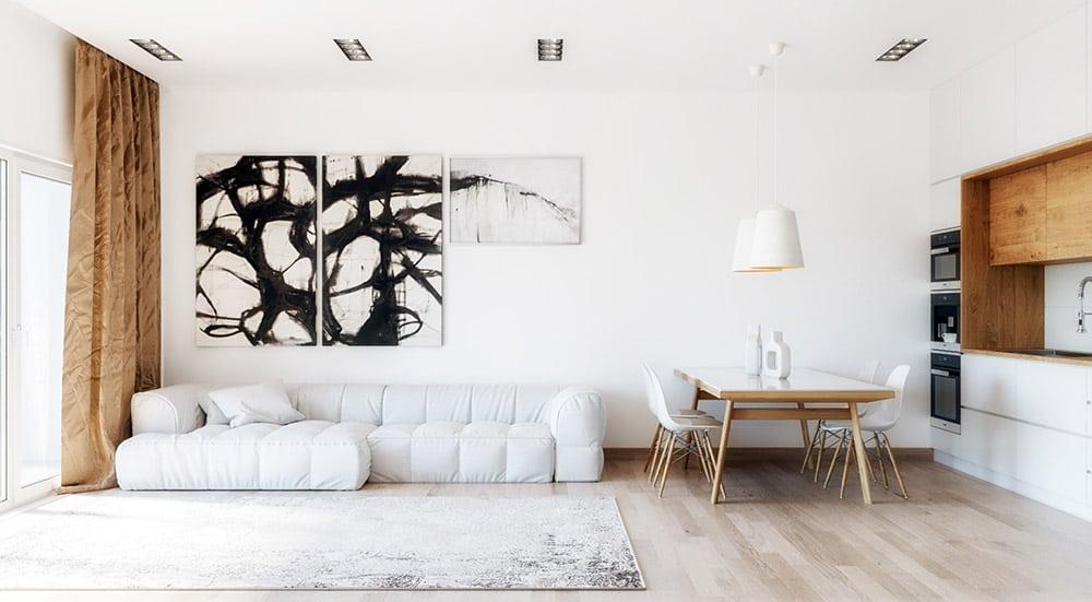Sofa màu trắng là sự lựa chọn độc đáo và ấn tượng cho phòng khách
