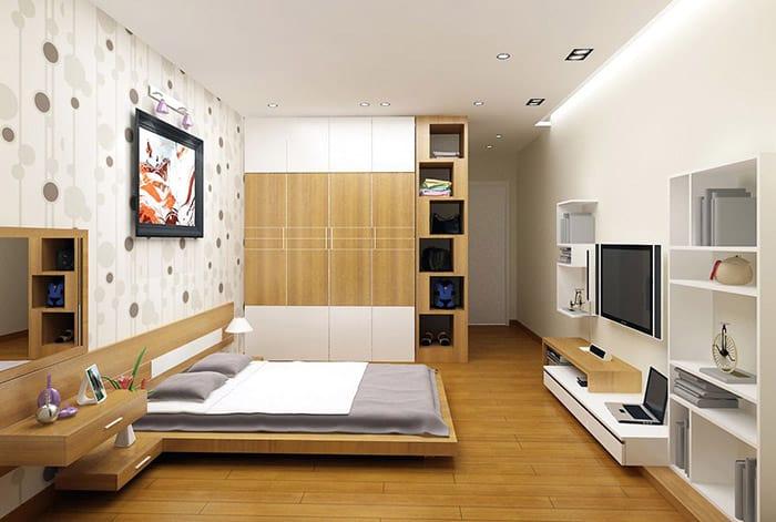 Thiết kế phòng ngủ với giấy dán đầy trang nhã