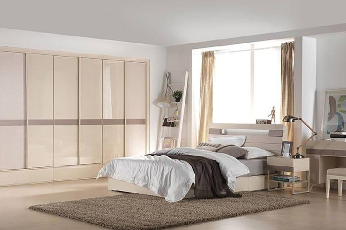 Mẫu phòng ngủ siêu gọn gàng với màu sắc dịu nhẹ