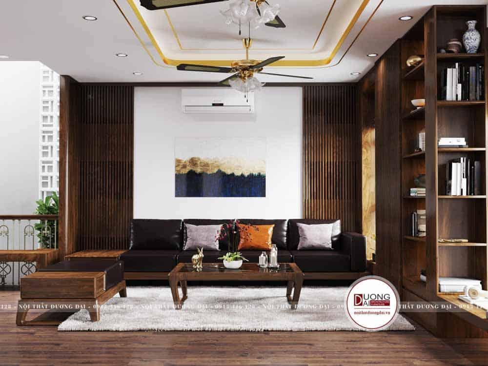 Phòng khách sang trọng với bộ sofa gỗ óc chó siêu đẹp