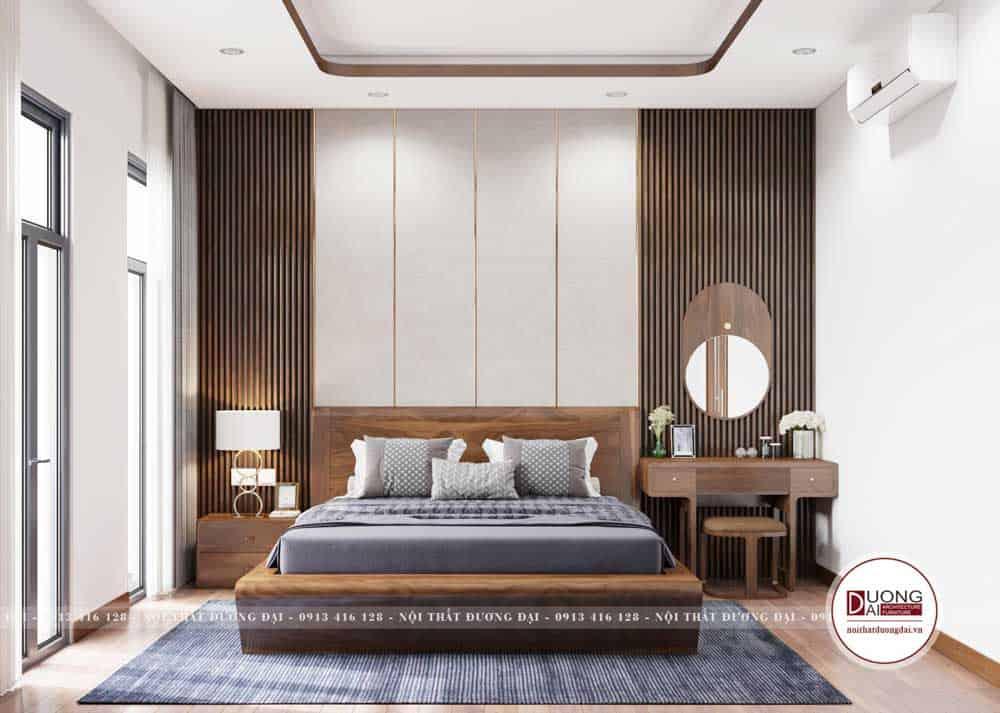 Phòng ngủ Master sang trọng với nội thất gỗ óc chó