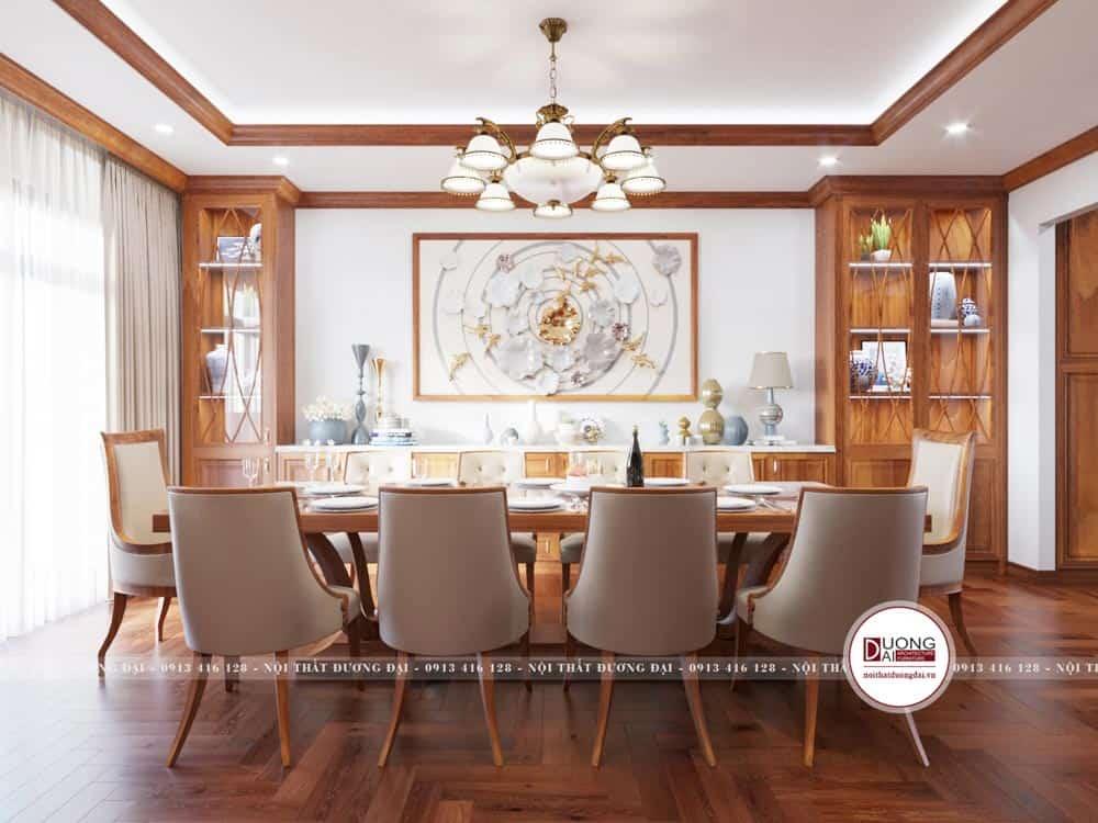 Ghế ăn được bọc da trắng cho khung gỗ hương đầy sang trọng