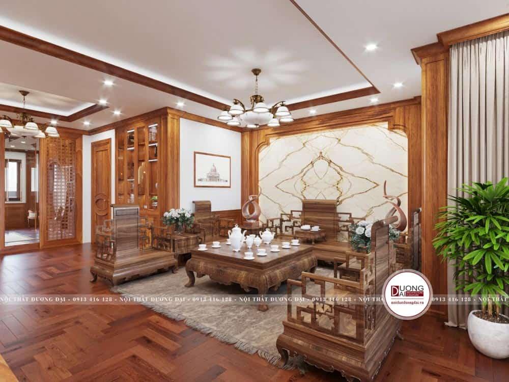 Thiết kế phòng khách siêu đẳng cấp với sofa gỗ hương tân cổ điển