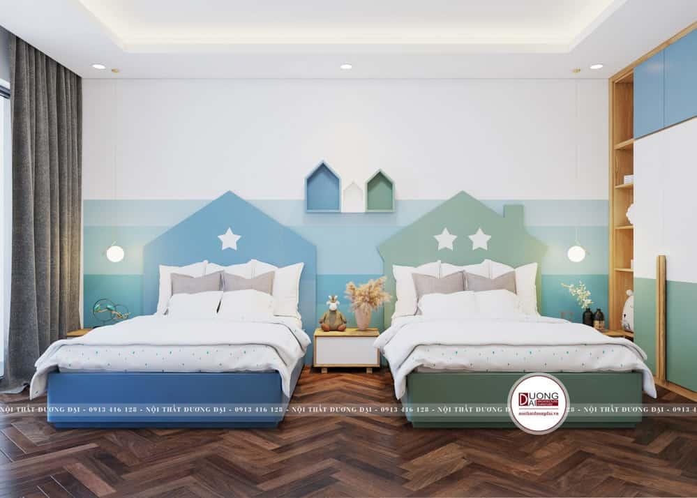 Giường ngủ màu xanh dương, xanh lá rất cá tính