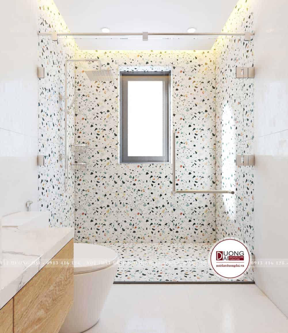 Phòng tắm bé trai cá tính với nhà tắm kính