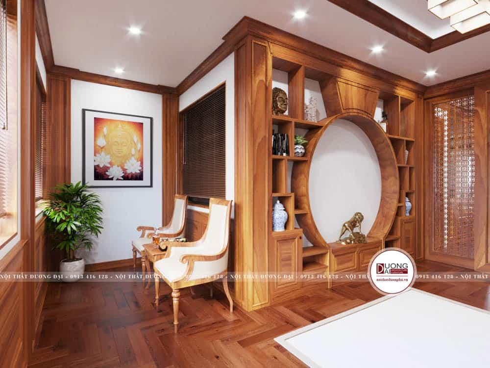 Kệ trang trí gỗ cùng bộ bàn ghế nhỏ để ngắm cảnh