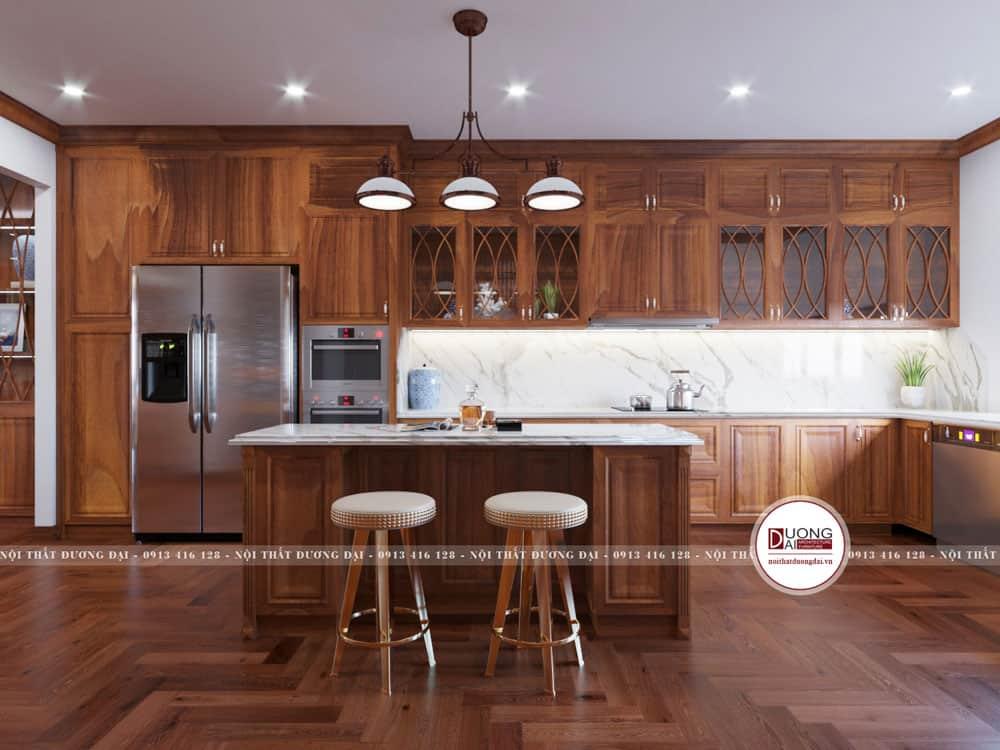 Tủ bếp treo chạm trần đầy uy nghi với thiết kế tân cổ điển