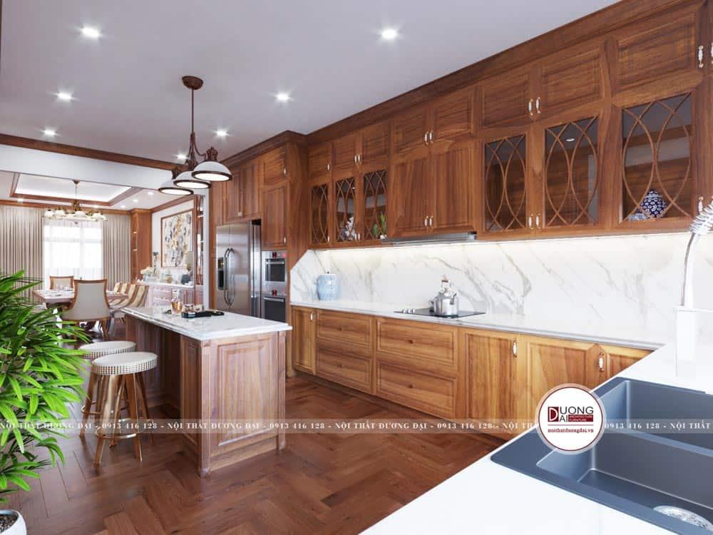 Tủ bếp được thiết kế thông minh với chất liệu bền vững