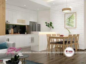 Phòng bếp tiện nghi với tủ bếp và bàn ăn gỗ