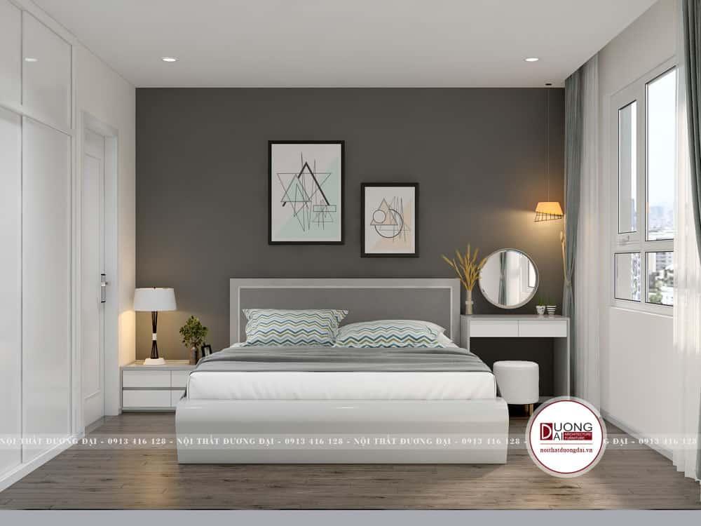 Phòng ngủ gam màu ghi trầm đơn giản phù hợp với diện tích nhỏ