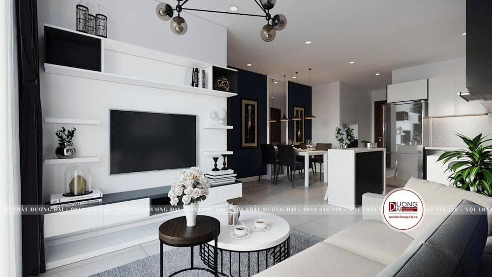 Phòng khách chung cư đơn giản và hiện đại với quầy bar bếp ngăn cách