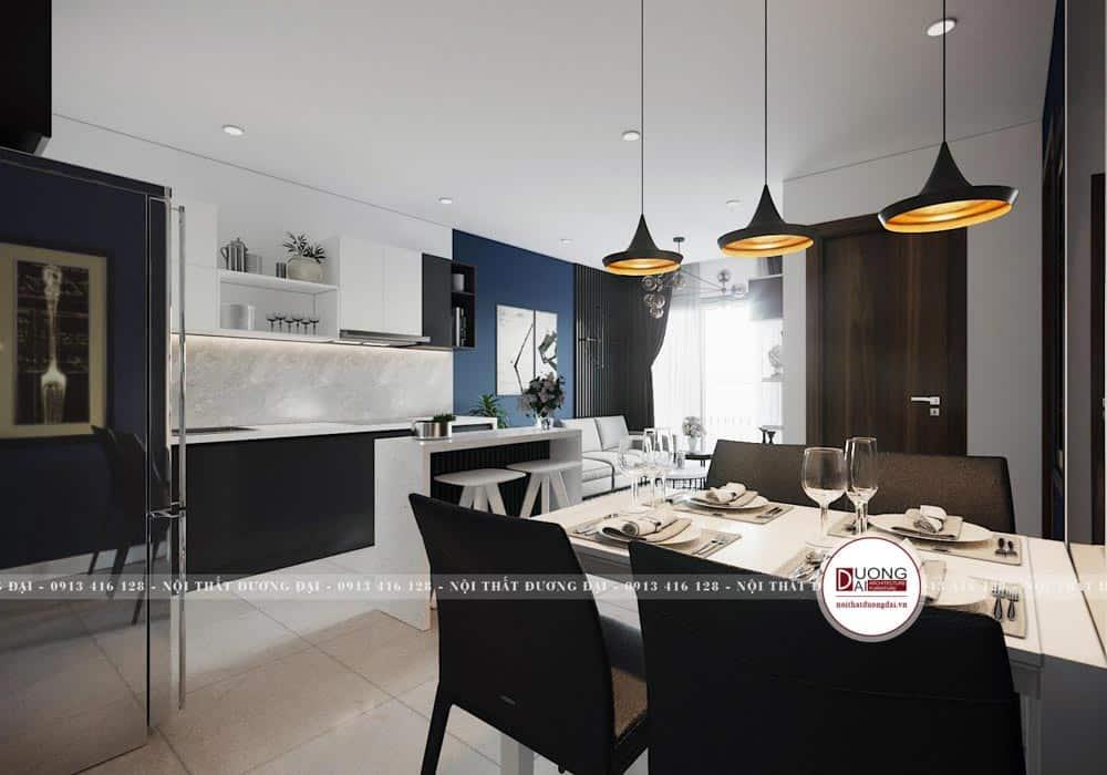 Mẫu phòng bếp đầy cá tính với gam màu tương phản
