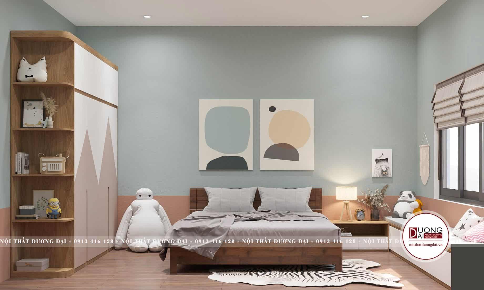 Phòng ngủ cho bé đầy ấn tượng với gam màu trẻ trung