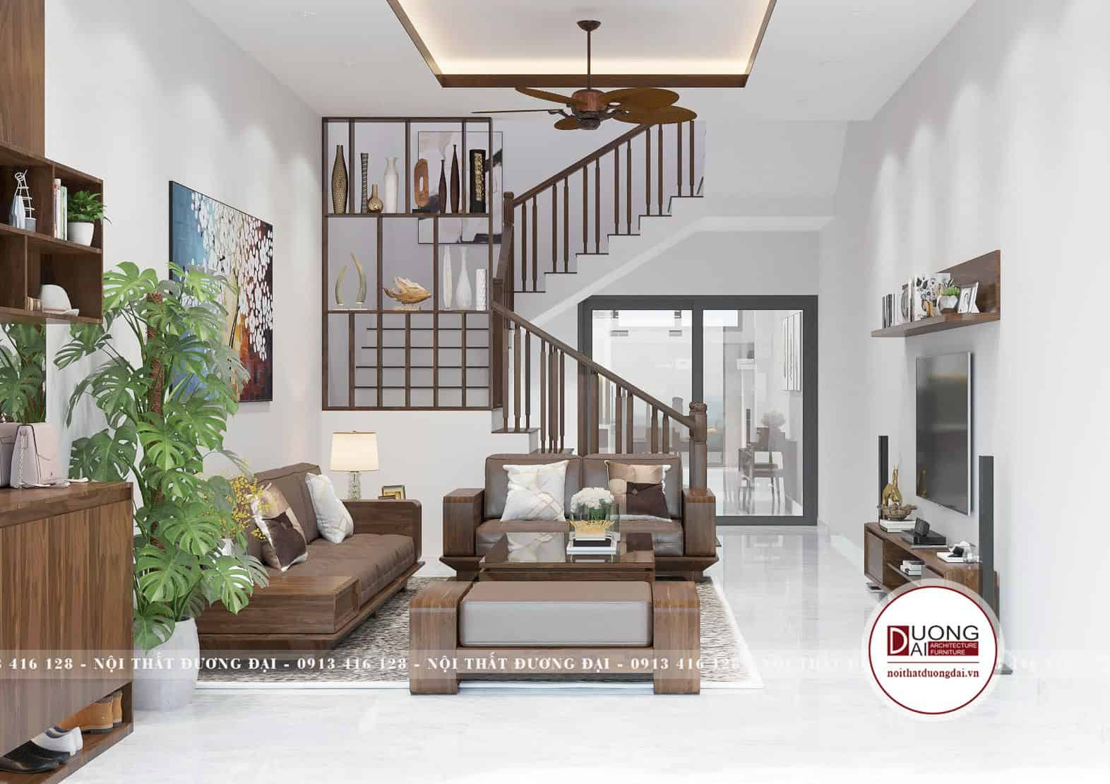Cầu thang thông tầng đặt giữa sẽ đảm bảo tính phong thủy cho nhà phố