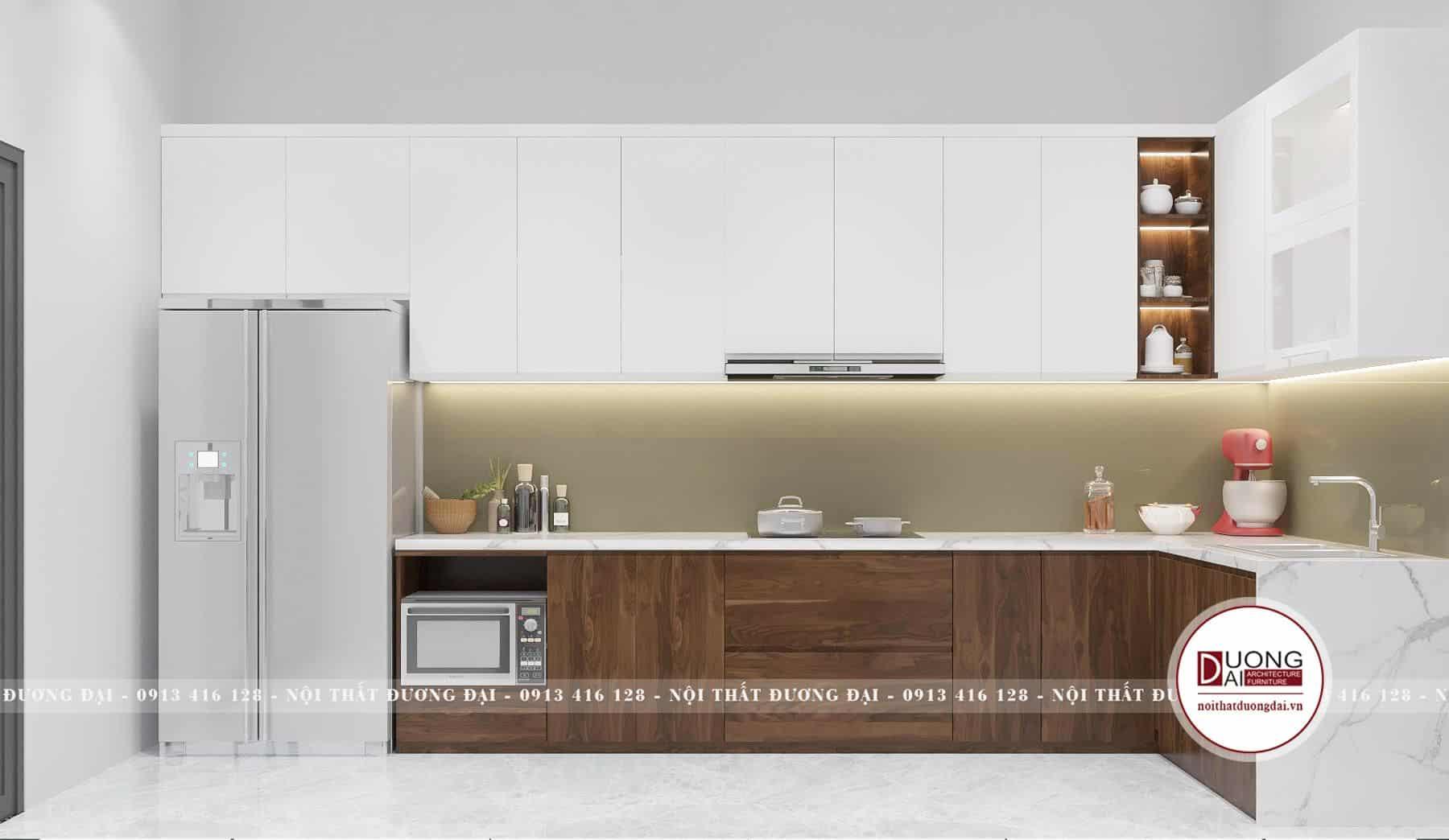 Tủ bếp gỗ MFC màu trắng và vân gỗ óc chó đầy tiện nghi