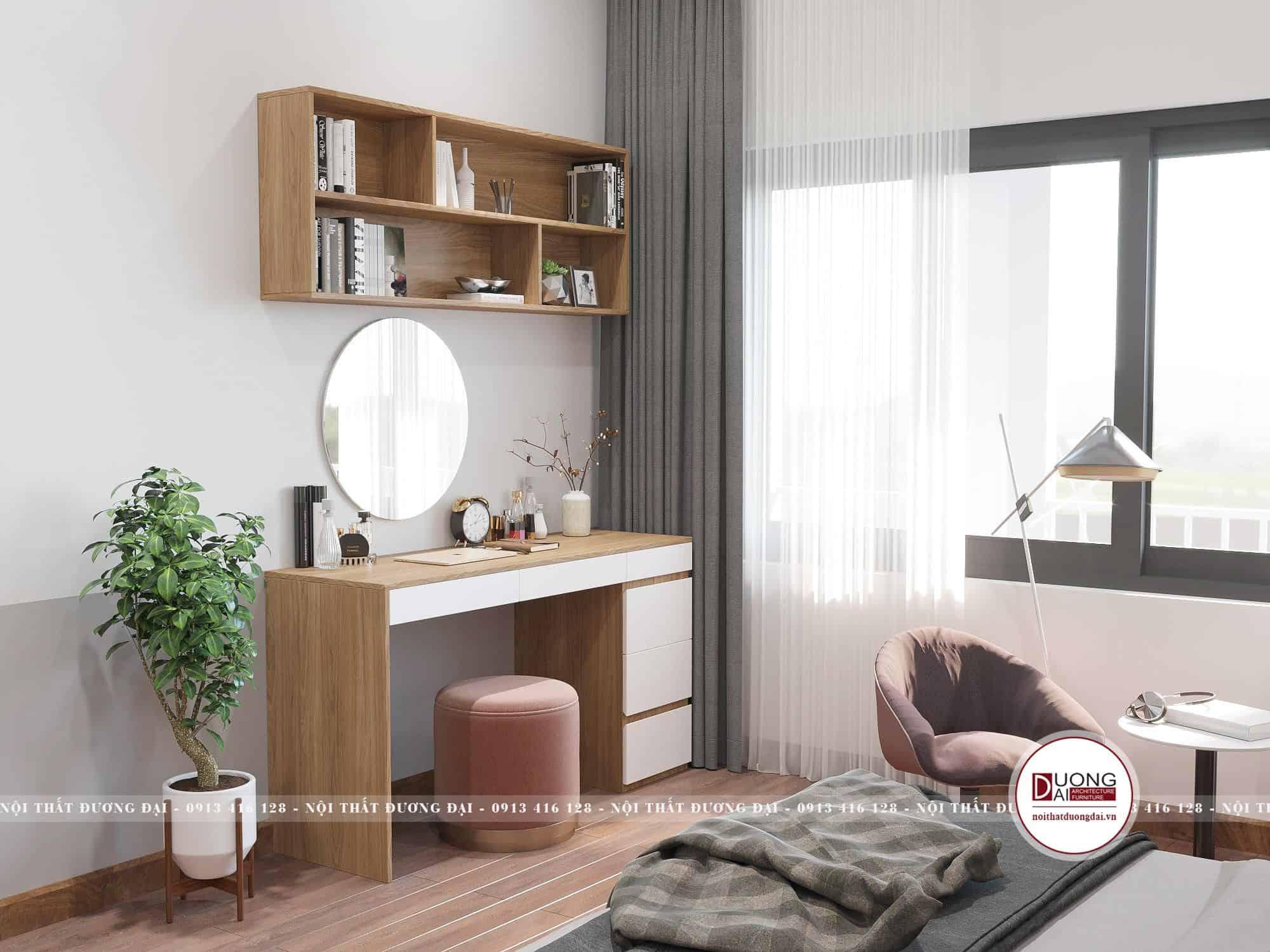 Thiết kế bàn phấn và giá sách nhỏ trong phòng ngủ