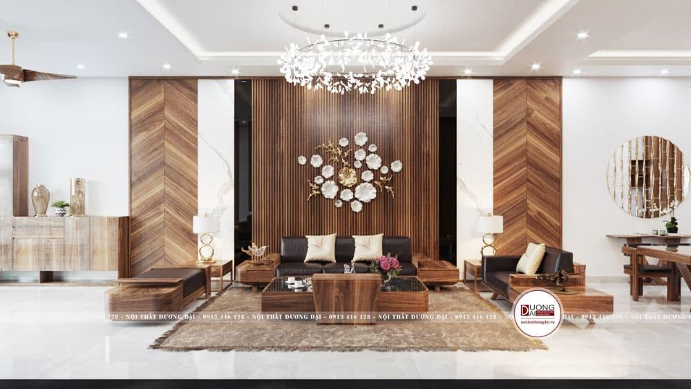 Mẫu phòng khách siêu ấn tượng với sofa gỗ tự nhiên