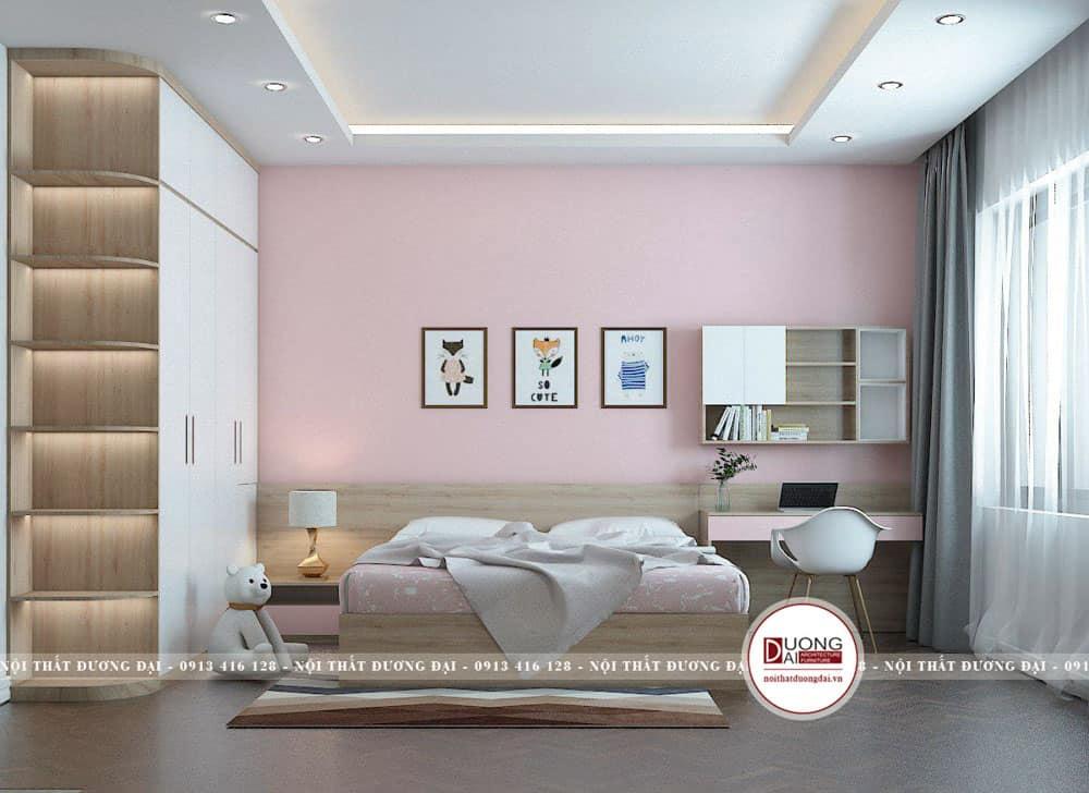 Phòng ngủ cho bé yêu với gam màu hồng nhạt