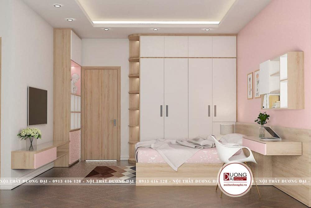 Thiết kế phòng ngủ tiện nghi với góc học tập hiện đại
