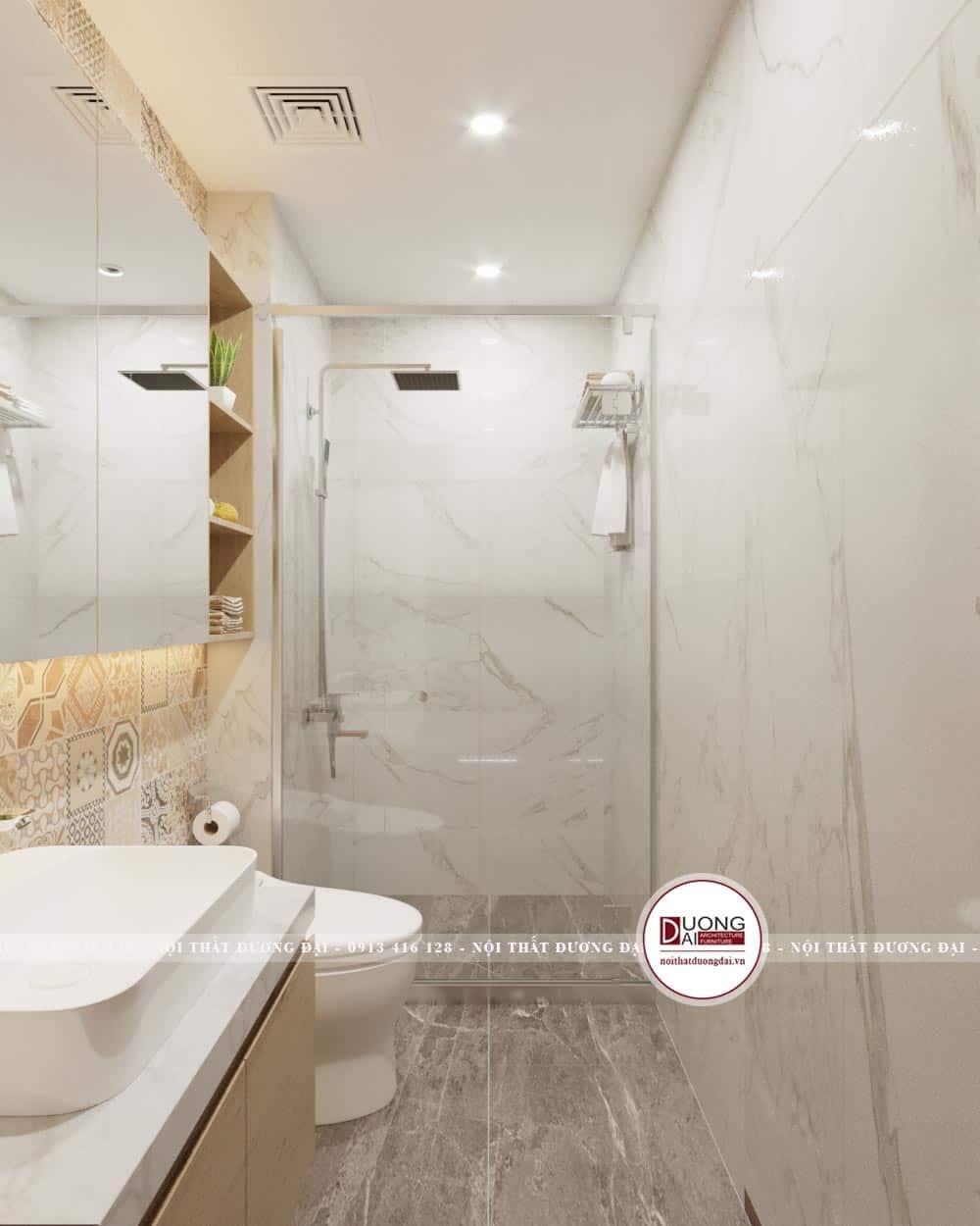 Phòng WC hiện đại với phòng tắm kính
